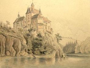 Drawing of Kriebstein Castle from around 1830